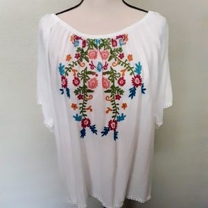 Ariat top, rainbow floral embroidery